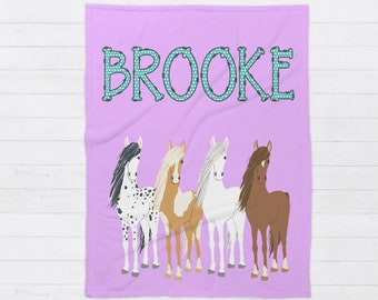 Mother Horse With Colt Baby Quilt  Handmade  4 Layer Warm Baby Blanket