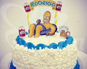 Astonishing Simpsons Cake Topper Etsy Funny Birthday Cards Online Sheoxdamsfinfo