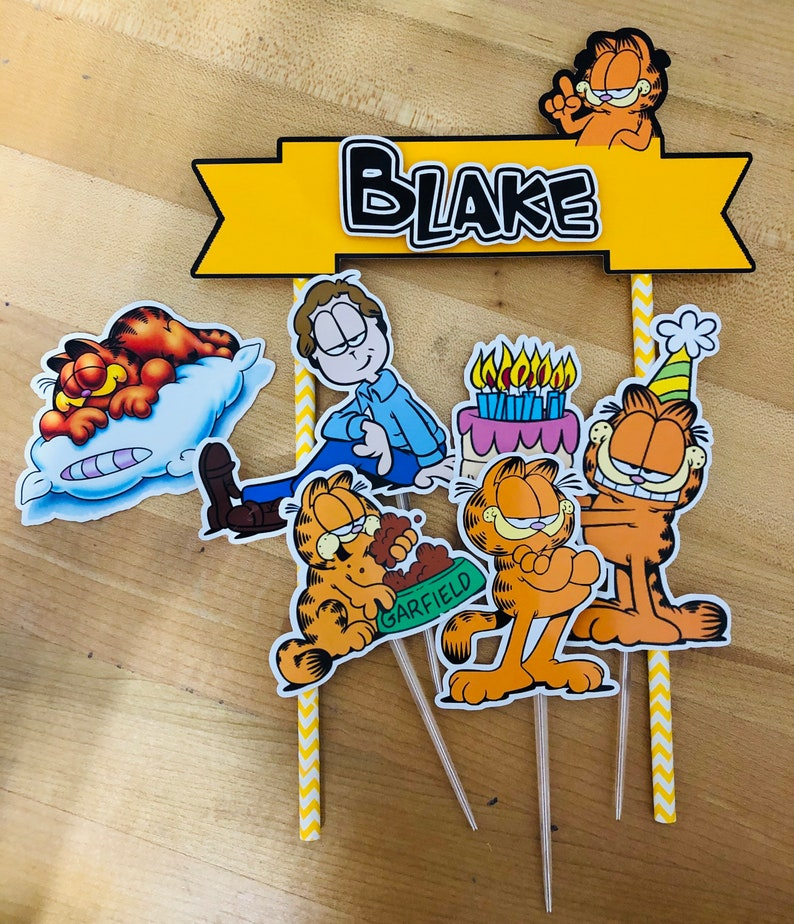 Personalized Garfield Theme Cake Topper | Etsy