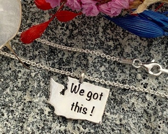 Covid 2020 Washington State Necklace Encouragement Gift Sterling Silver Memorabilia Necklace Positivity Keepsake Charm Necklace Key Ring