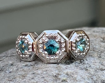 Montana Sapphire Ring White Gold 3 Stone Octagon Ring Size 7 Teal Blue Sapphire Chunky Gold Geometric Ring Parti Sapphire Blue Stone Ring
