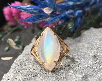 Diamond Moonstone Ring 14k Gold Size 6.25 Natural Rainbow Moonstone Marquise Alternative Engagement Ring Handmade Statement Gemstone Ring