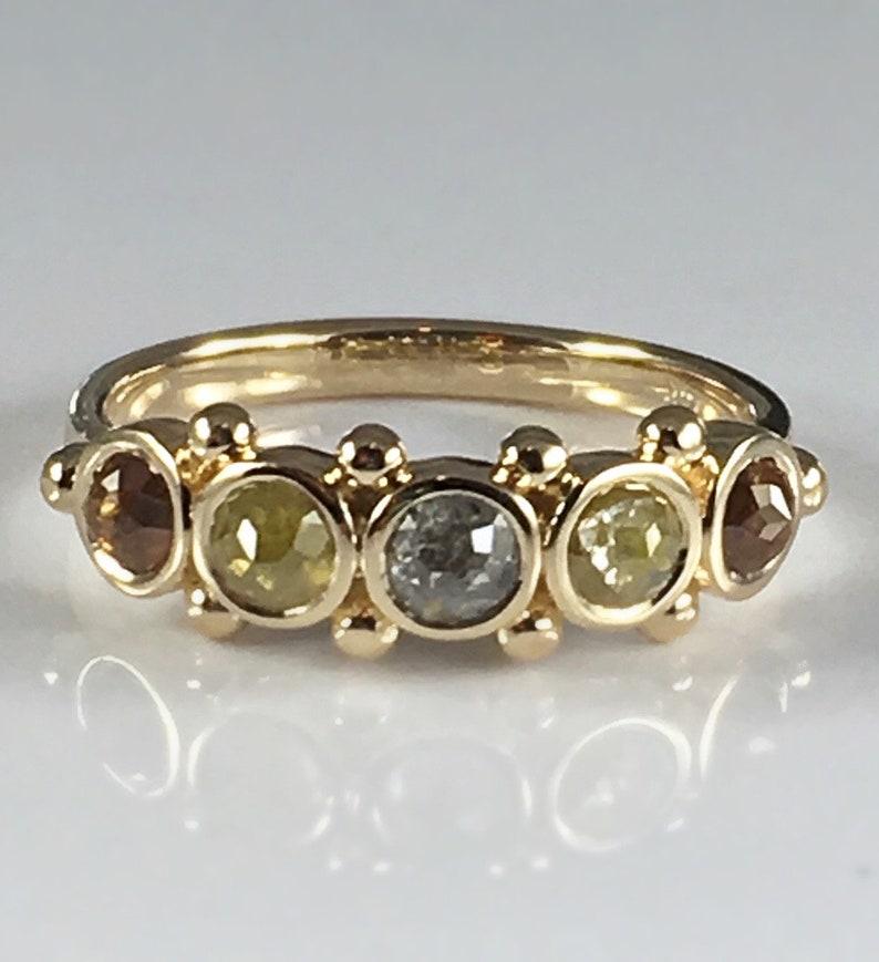 Natural Rough Rose Cut Diamond Ring Gold Sz 6.5 Rustic image 0