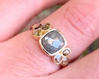 Gray Natural Rough Diamond Ring Gold Size 6.25 Rose Cut Repurposed Vintage Brown Diamond Alternative Engagement Rustic Organic Cluster RIng