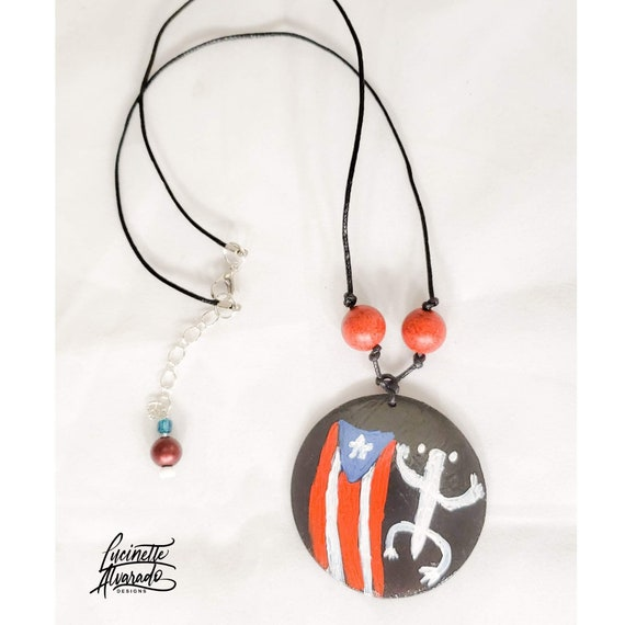 Puerto Rico jewelry for women  leather jewelry  leather necklace  Puerto Rican necklace