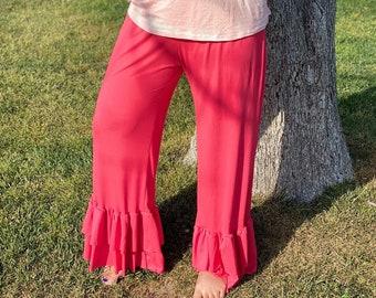 Ruffled Leggings Custom handmade Petunia Petals womens ruffle pants