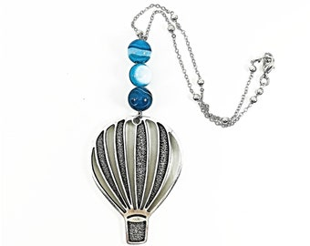 Car mirror charm with blue agate beads and silver plated hot-air balloon, rearview mirror accessories, car hanger deco, gift for new car