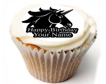 Unicorn Birthday Personalised x20 Cupcake toppers Rice wafer or Icing Sheet.76