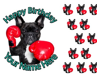 Personalised French Bulldog Frenchie Dog Icing Birthday Party Cake Topper