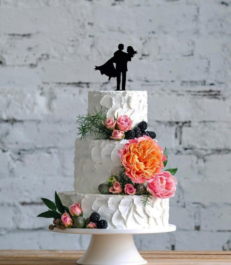 Wedding Cake decoration Bride Groom Wedding 120mm acrylic keepsake Not glitter card.493