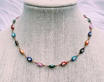Grunge Choker Evil Eye Cord Choker Adjustable Choker Necklace Blue Evil Eye Necklace Evil Eye Bead Hippie Spiritual Necklace