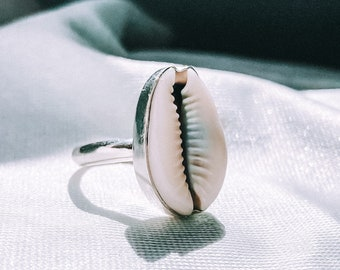 Cowrie Shell Ring, Jewelry, 925 Sterling Silver, Seashell