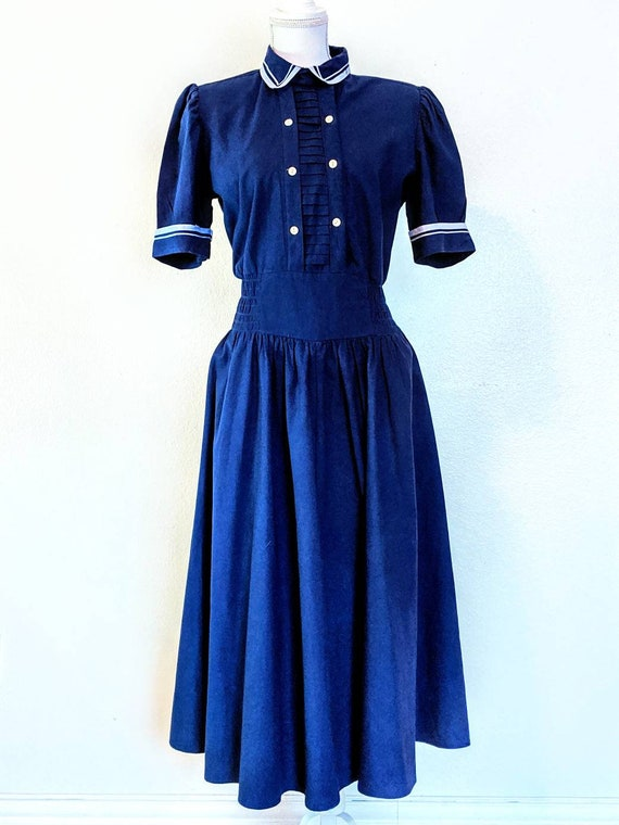 Vintage 1980s Navy Blue Sailor Dress by You Babes