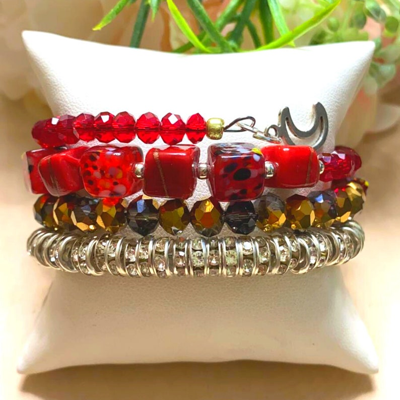 Fiery Ruby and Garnet Bead Bracelet with Gold Rhinestone Hoop Spacers Handmade Adjustable Memory Wire Bracelet With Gold Charms