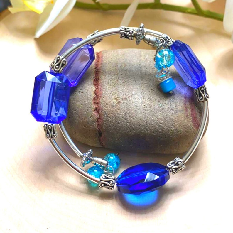One of a kind Blue beaded Memory wire Bracelets shop store shoes dresses accessories shoes dinner party gifts silver gold