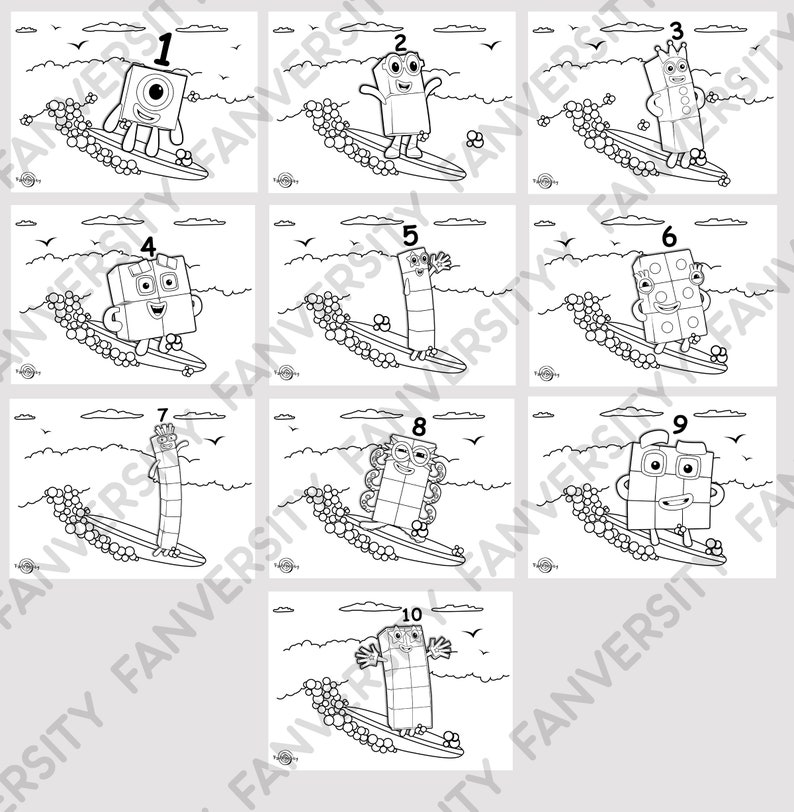 Numberblocks Surf Coloring Book 1 to 10 Coloring Pages as ...