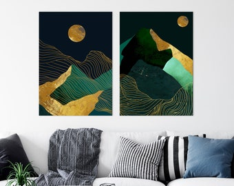 Set of 2 Painting Dark Landscapes, Moonrise Wall Art, Dark Green Prints, Scandinavian Nordic Emerald Green and Gold Prints Set Home Decor