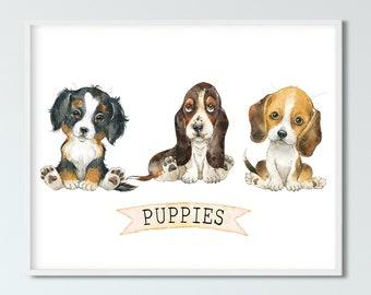 Nursery Wall Art Puppies, Kids Room Decor, Nursery Art Print, Baby Gift, INSTANT DOWNLOAD