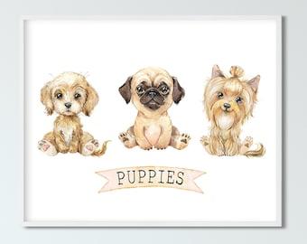 Cute Puppies, Nursery Wall Art, Kids Room Decor, Nursery Art Print, Baby Gift, INSTANT DOWNLOAD