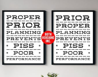 7 Ps of Planning, Proper Prior Planning, Coach Gift, Military Poster Print, Digital Download Gift