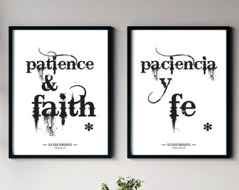 Paciencia Y Fe, Set of 2, Patience and Faith, In The Heights Broadway Musical Poster, Spanish Poster Art