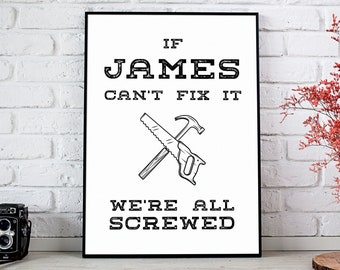 Personalized Gift for Dad, Handyman Gift, Custom Quote Print, Personalized Message