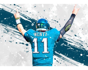 Carson Wentz vs Donte DiVincenzo Custom Basketball Poster Abstract Watercolor Drawing st NFL-CU01 CANVAS PRINT Basketball Football Art