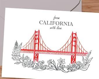Letterpress greeting card Regional Love from San Francisco Bridge BOX
