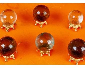 1 Dollhouse Halloween Magic Crystal Ball Antique Gold Base Randomly Select OOAK