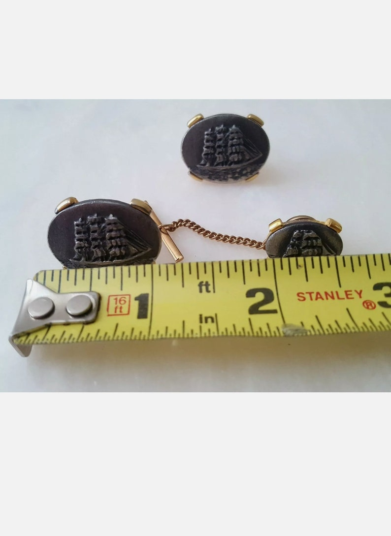 Bing and Grondahl Ships Nautical Navy Military Vintage Signed Cufflinks and Tie Pin Set~Pewter /& Gold Tone
