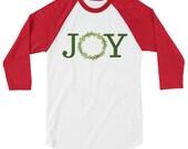 JOY Watercolor Christmas Wreath 3/4 Sleeve Raglan Shirt Baseball Tee