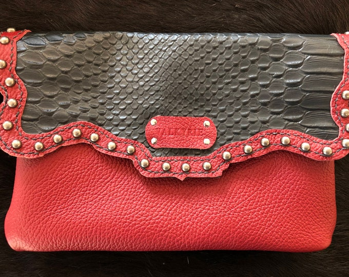 Red and Black Leather Clutch
