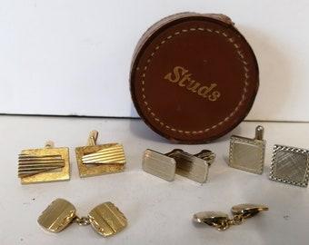 Antique Leather Cufflinks