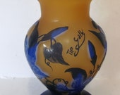 Cameo Glass Vase with mountain and lake scene Signed Galle Tip 22cm 39 s Tall