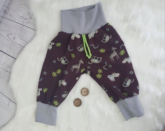 Baby pants, jersey baby pants, size 68, sloths, giraffes, hippos, wine red, girls and boys