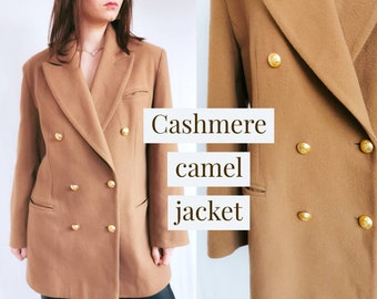 CASHMERE CAMEL JACKET Double Breasted Wool Beige Brown Military Style Women's Peacoat