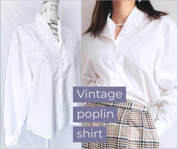 OVERSIZED POPLIN SHIRT Vintage White Blouse Balloo