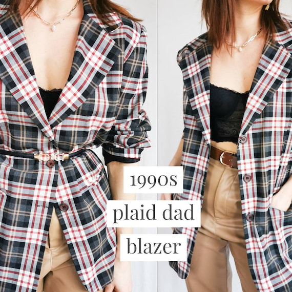 PLAID VINTAGE BLAZER 1990s Oversized Checked Tarta