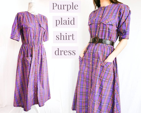 PURPLE PLAID SHIRTDRESS Vintage Deadstock Housewif