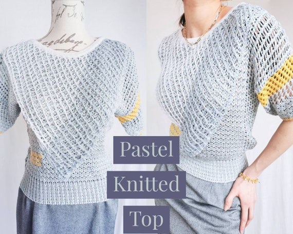 PASTEL KNITTED TOP Baby Blue White Open Knit Croch