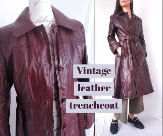 VINTAGE LEATHER TRENCHCOAT Long Coat Women's Small