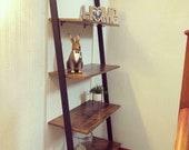 Industrial Ladder Shelf 4 Tier Shelving Unit Plant Stand Vintage Rustic Bookcase Leaning Rack