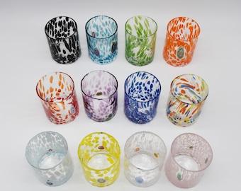 Venezia Large Size Set 12 Piece - Murano Glasses - Colored Glasses Set -Murano Goths-Handcrafted Glasses -Murano Glass - Wine -Water Glasses