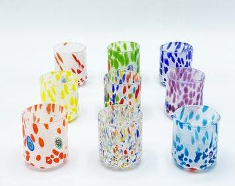 Murano Glasses - Sets 9 Pieces liqueur glasses - Italian Glassware - Multicolor Crystal Glasses - Perfect Gift - Bicchieri di Murano