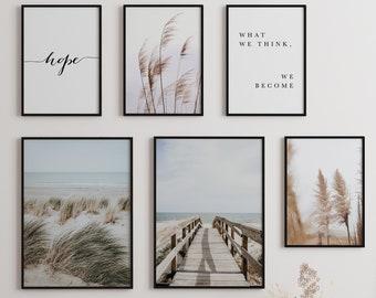 Secretly® Premium Poster Set of 6 Dunes Beach Sea Murals   Living room decoration   Bedroom decoration   Nature Print Pictures