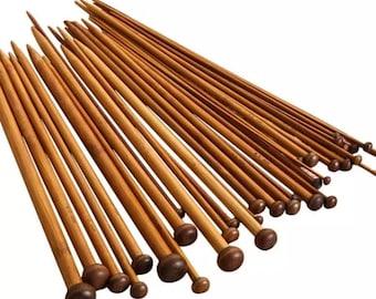 Quality Bamboo Knitting Needles Sizes 3 - 10mm  35cm Eco Vegan Same Day Dispatch!