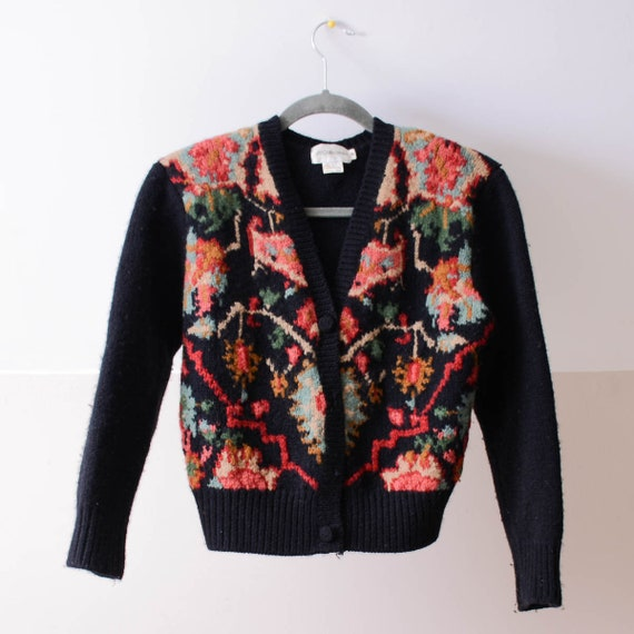 80s Classy Bold Patterned Medallion Floral Fine Wo