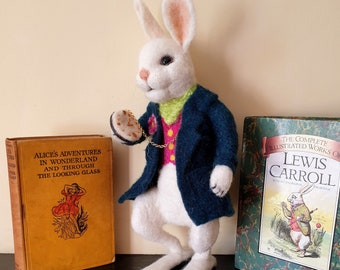 The White Rabbit from Alice in Wonderland - needle felted hand made gift