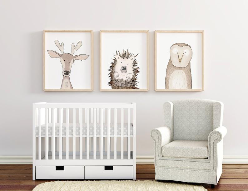 Nursery Decor Woodland Forest Animal Nursery Print Set Nursery Wall Art