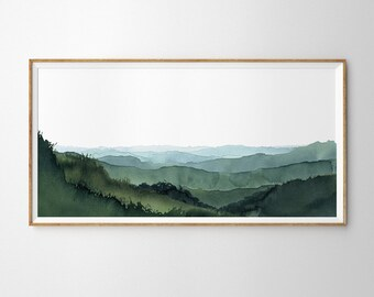 Panoramic Blue Green Mountain Valley Watercolour Art Print. Misty Rolling Hills Watercolor Landscape Painting. Extra Large Panorama Print